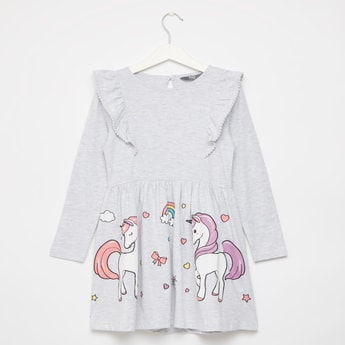 Unicorn Print Dress with Long Sleeves and Ruffle Detail