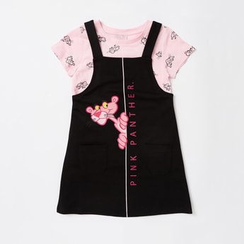 Pink Panther Print T-shirt and Pinafore Set