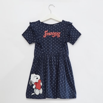 Snoopy Print Knee Length Dress with Short Sleeves