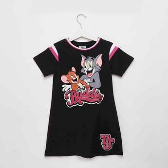 Tom and Jerry Print Knee Length Dress with Short Sleeves
