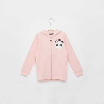 Panda Print Hoodie with Long Sleeves and Kangaroo Pockets