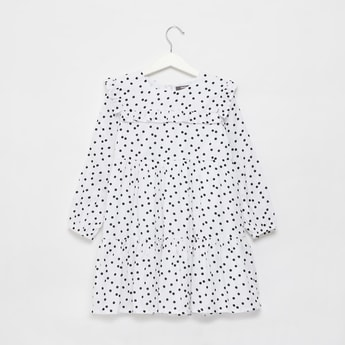 Polka Dots Print Mini Tiered Dress with Ruffle Detail and Long Sleeves