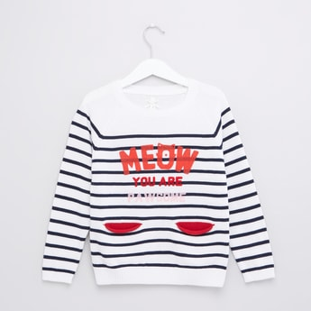 Striped Round Neck Long Sleeveles Sweater