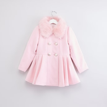 Embellished Plush Collar Long Sleeves Jacket