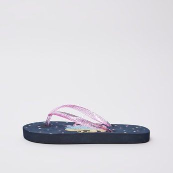 Unicorn Print Flip Flops with Textured Straps