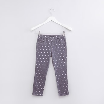 Printed Full Length Pants with Elasticised Waistband and Pocket Detail