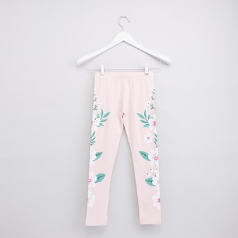 Floral Print Leggings with Elasticated Waistband