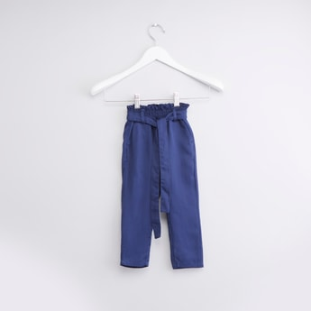 Textured Pants with Pockets and Tie Ups