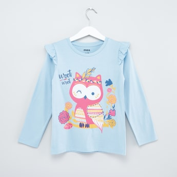 Printed Long Sleeves T-shirt with Frill Detail and Round Neck