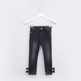 Bow Detail Full Length Jeans with Pocket Detail and Belt Loops