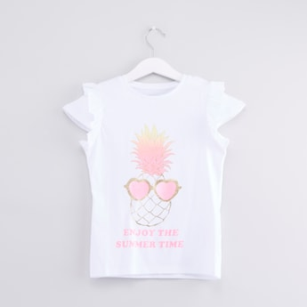 Printed Ruffle Detail Cap Sleeves T-shirt