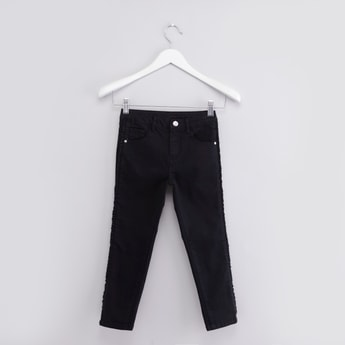 Solid Jeans with Pocket Detail and Side Frills