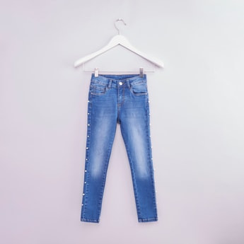 Pearl Embellished Jeans with Button Closure