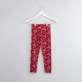 Floral Print Full Length Leggings with Elasticated Waistband