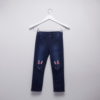 Embroidered Full Length Jegging with Elasticised Waistband