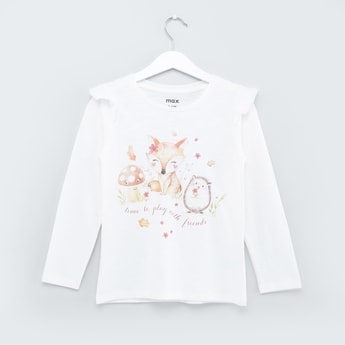 Printed T-shirt with Long Sleeves and Ruffle Detail
