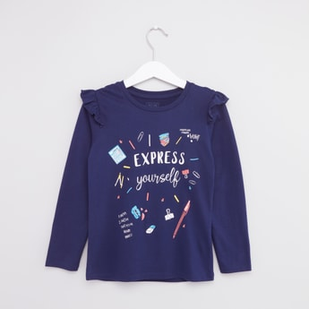 Printed Frill Detail T-shirt with Round Neck and Long Sleeves