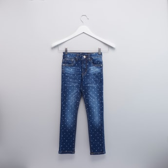 Printed Full Length Jeans with Pocket Detail and Belt Loops