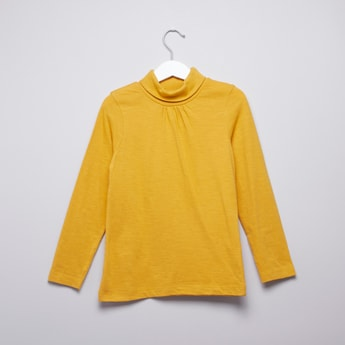 Plain T-shirt with High Neck and Long Sleeves