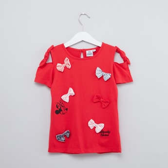 Minnie Mouse Printed T-shirt with Bow Applique and Short Sleeves