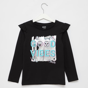 Typographic Print T-shirt with Ruffles and Long Sleeves