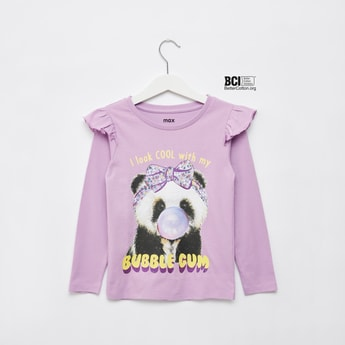 Panda Print T-shirt with Long Sleeves and Ruffle Detail