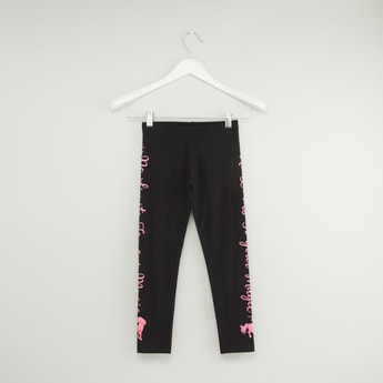 Text Print Leggings with Elasticised Waistband