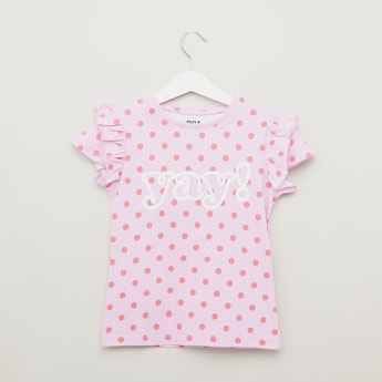 Polka Dots Print T-shirt with Cap Sleeves