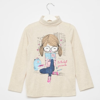 Graphic Print T-shirt with High Neck and Long Sleeves