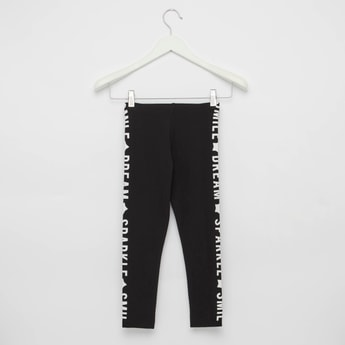 Typographic Print Leggings with Elasticised Waistband