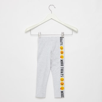 Full Length Emoji Print Leggings with Elasticised Waistband