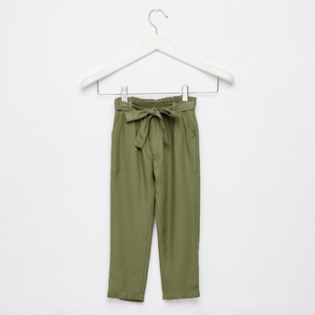 Solid Rayon Twill Woven Pants with Tie-Ups