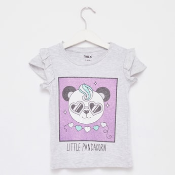 Panda Print T-shirt with Round Neck and Cap Sleeves