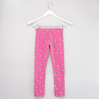 Panda Print Leggings with Elasticised Waistband