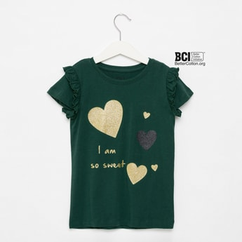 Glitter Print T-shirt with Round Neck and Cap Sleeves
