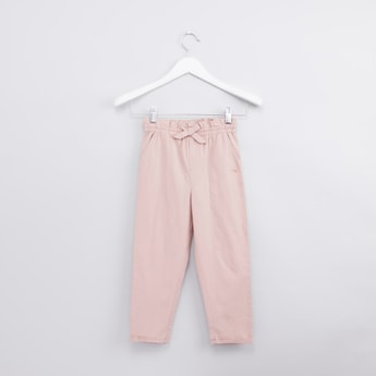 Full Length Pants with Bow Applique and Pocket Detail