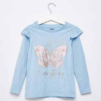 Glitter Detail Butterfly Print Top with Round Neck and Long Sleeves