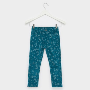 Printed Corduroy Jeans with Button Closure