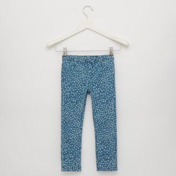 Animal Print Full Length Denim Jeggings with Elasticated Waistband