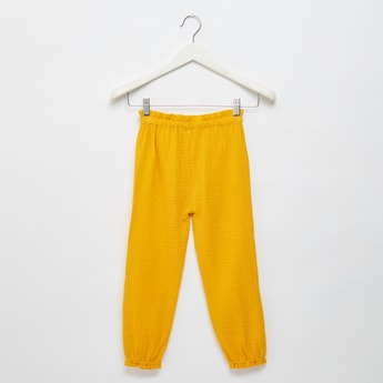 Textured Side Bow Detail Full Length Joggers with Elasticated Waistband