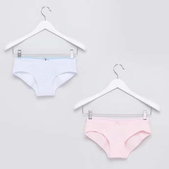 Set of 2 - Bow Detailed Hipster Briefs with Elasticated Closure