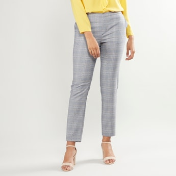Chequered Trousers with Pocket Detail and Elasticised Waistband