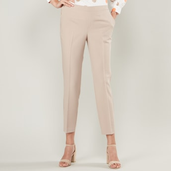 Solid Cropped Trousers with Pocket Detail