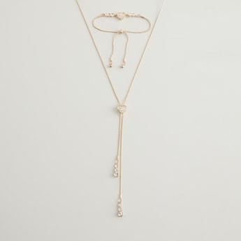 Stud Detail Necklace and Bracelet Set