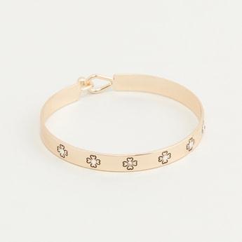 Studded Cuff Bracelet with Hook Closure