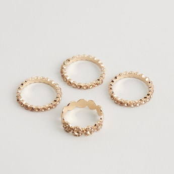 Set of 4 - Embellished Rings