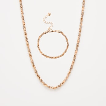 Twist Pattern Necklace and Bracelet Set