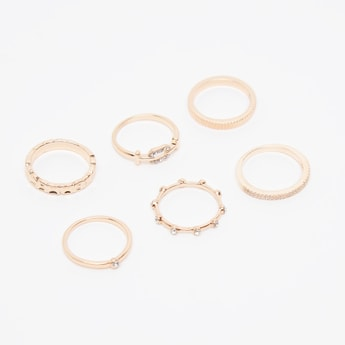 Set of 6 - Stud Detail Finger Rings