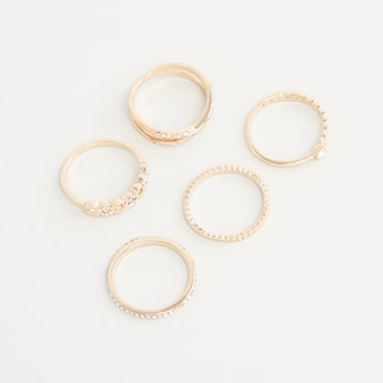 Set of 5 - Studded Finger Rings
