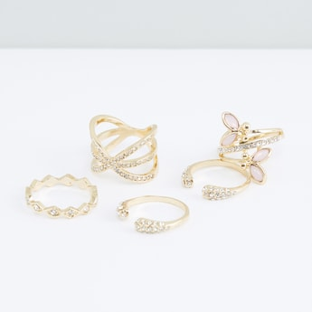 Studded Finger Ring - Set of 5